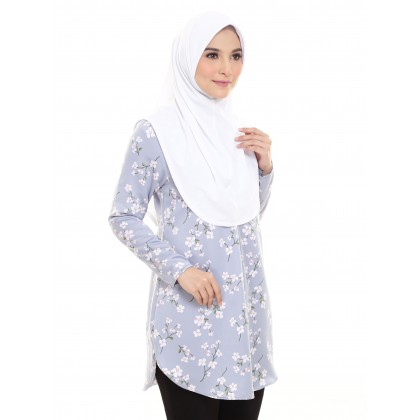 Laraa Satin Blouse - Sakura Sterling Blue