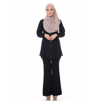 Aifa Pleated Blouse - Black