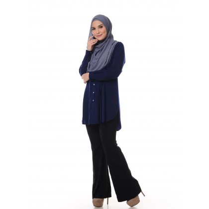Aifa Pleated Blouse - Dress Blues