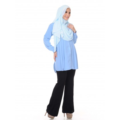 Aifa Pleated Blouse - Air Blue