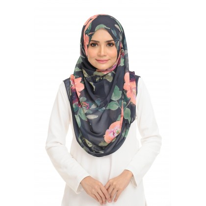 Lily Printed Chiffon Instant Shawl - Floral Corsage