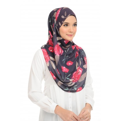 Lisa Printed Chiffon Long Shawl - Roses Plum