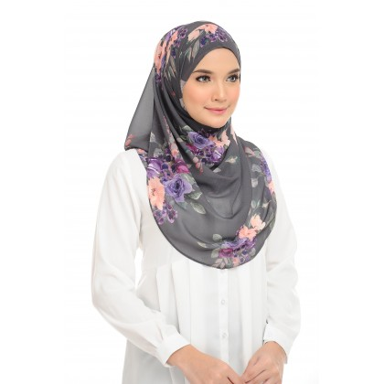 Lisa Printed Chiffon Long Shawl - Posy Gray