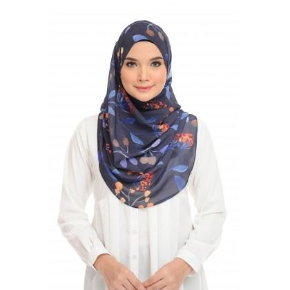 Lisa Printed Chiffon Long Shawl - Blue Nights