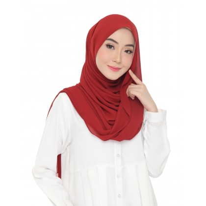 Lisa Long Chiffon Shawl - Ribbon Red
