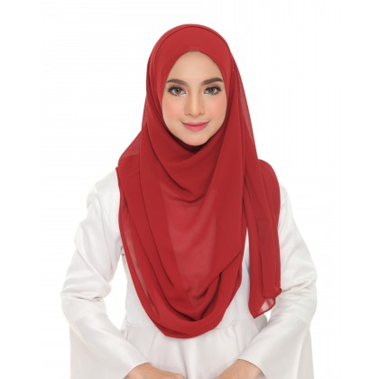 Lily Plain Chiffon Instant Shawl -  Ribbon Red