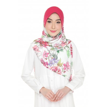 Instant Bawal Raisya Printed Adult - Fuschia Bouquet