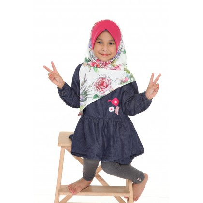 Instant Bawal Raisya Printed Kids S - Fuschia Bouquet