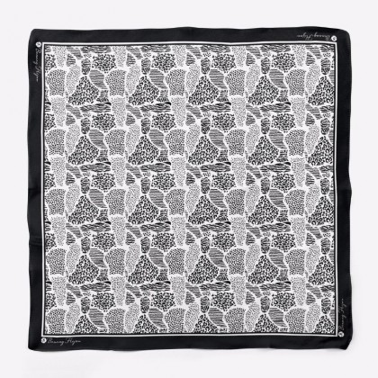 Ranea Satin Silk Square Scarf - Black Safari (55')