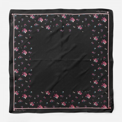 Ranea Satin Silk Square Scarf - Black Blooms (55')