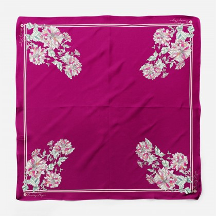 Ranea Satin Silk Square Scarf - Rose Red Carnation (55')
