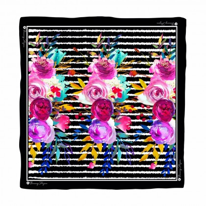Kaela Cotton Square Scarf - Stripey Floral 45'