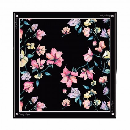 Kaela Cotton Square Scarf - Black Beauty 50'