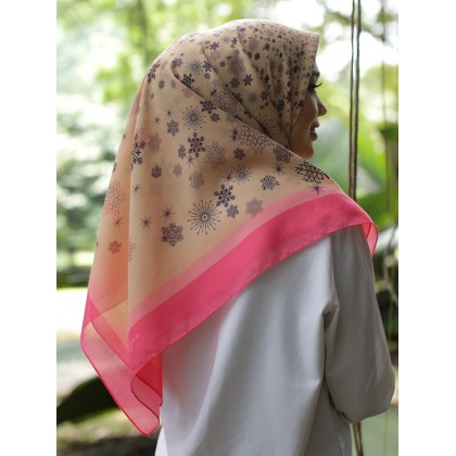 Kaela Cotton Square Scarf - Peach Snowflakes 50'