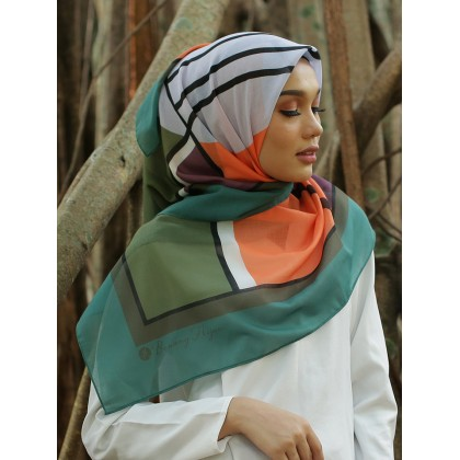 Kaela Cotton Square Scarf - Mint Abstract 50'