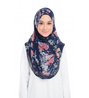 Lily Printed Chiffon Instant Shawl - Blue Bouquet