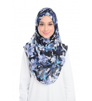 Lily Printed Chiffon Instant Shawl - Blooming Blue