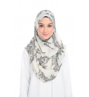 Lily Printed Chiffon Instant Shawl - Delicate Lace