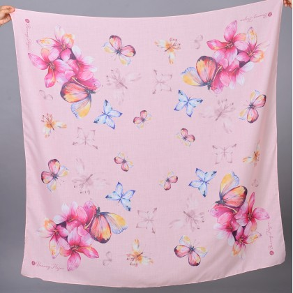 Kaela Cotton Square Scarf - Peach Butterfly 55'