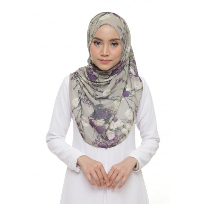Lisa Printed Chiffon Long Shawl - Purple Roses