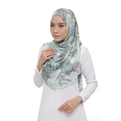 Lisa Printed Chiffon Long Shawl - Misty Monsterra
