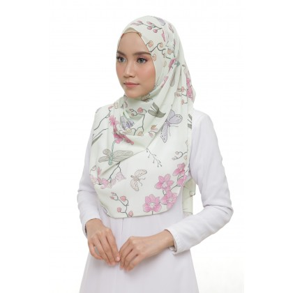 Lisa Printed Chiffon Long Shawl - Jade Orchid