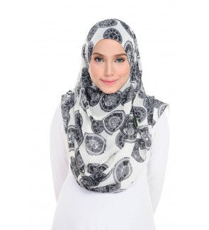Lily Printed Chiffon Instant Shawl - Timepiece White