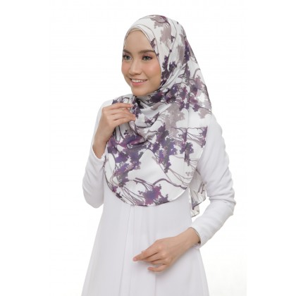 Lisa Printed Chiffon Long Shawl - Violet Forest