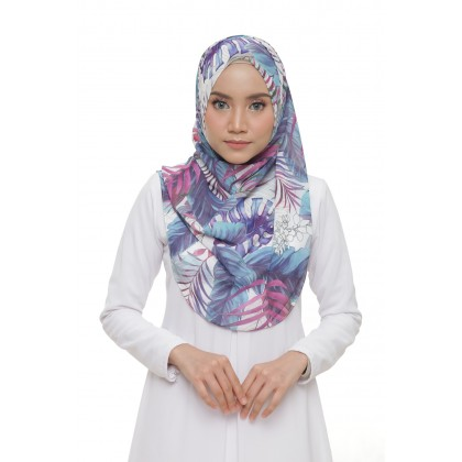 Lisa Printed Chiffon Long Shawl - Breezy Tropical