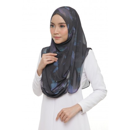 Lily Printed Chiffon Instant Shawl - Turquoise Shadow