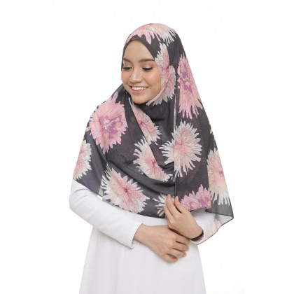 Lily Printed Chiffon Instant Shawl - Flame Peonies