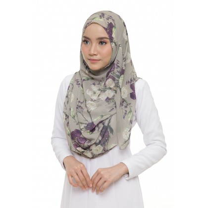 Lily Printed Chiffon Instant Shawl - Purple Roses
