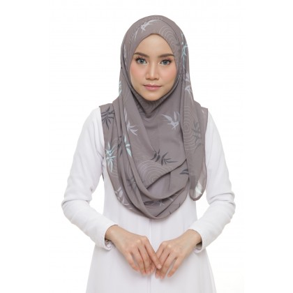 Lily Printed Chiffon Instant Shawl - Taupe Leaf