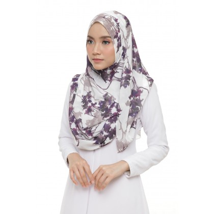Lily Printed Chiffon Instant Shawl - Violet Forest