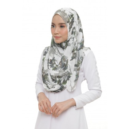 Lily Printed Chiffon Instant Shawl - Green Forest