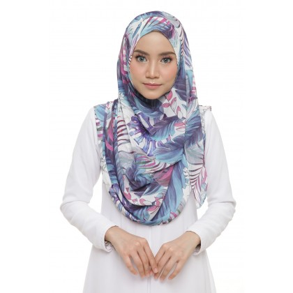 Lily Printed Chiffon Instant Shawl - Breezy Tropical