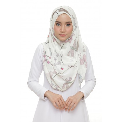 Lily Printed Chiffon Instant Shawl - Pearl Orchid