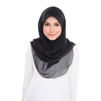 (AS-IS) Tudung Bawal Maira Ruffle Cotton Voile - Black Gold