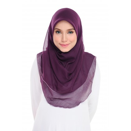 (AS-IS) Tudung Bawal Maira Ruffle Cotton Voile - Plum