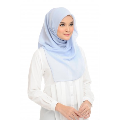 (AS-IS) Tudung Bawal Maira Square Cotton Voile - Illusion Blue