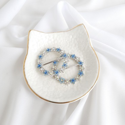 Scarf Ring - Code 001 in Blue with Silver Base