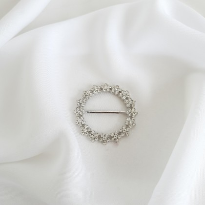 Scarf Ring - Code 001 in Crystal with Silver Base