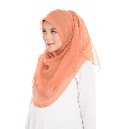 (AS-IS) Tudung Bawal Maira Ruffle Cotton Voile - Almond
