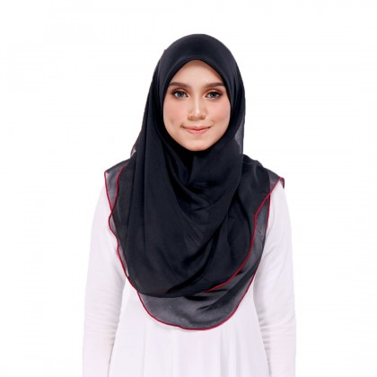 Maira Ruffle Cotton Voile - Black - Persian Red