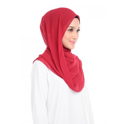 Lisa Long Chiffon Shawl - Jester Red