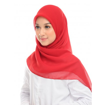 Amelie Square Scarf Cornskin - Racing Red