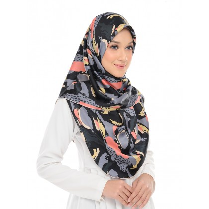Anis Satin Square Scarf - Abstract Black